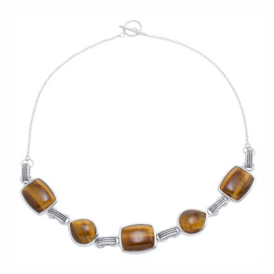 Womens Genuine Brown Tiger's Eye Sterling Silver Statement Necklace