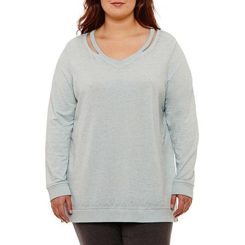 Flirtitude Cut Out Neckline Sweatshirt-Juniors Plus