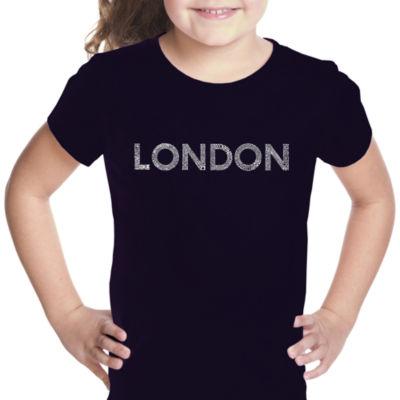Los Angeles Pop Art London Neighborhoods Short Sleeve Girls Graphic T-Shirt