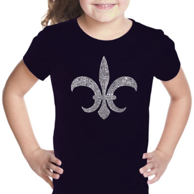 Los Angeles Pop Art Fleur De Lis - Popular Louisiana Cities Short Sleeve Girls Graphic T-Shirt