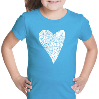 Los Angeles Pop Art Lots Of Love Short Sleeve Graphic T-Shirt Girls