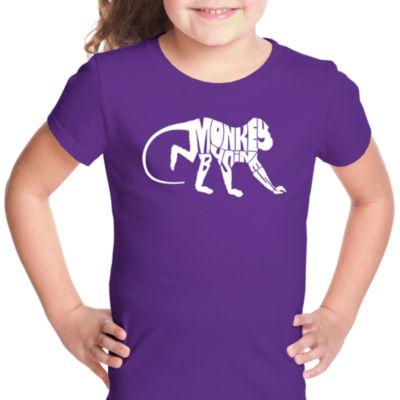 Los Angeles Pop Art Monkey Business Short Sleeve Girls Graphic T-Shirt