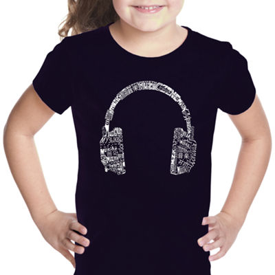 Los Angeles Pop Art Headphones - Languages Short Sleeve Graphic T-Shirt Girls