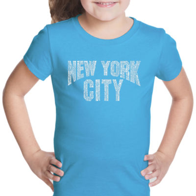 Los Angeles Pop Art Nyc Neighborhoods Short Sleeve Graphic T-Shirt Girls