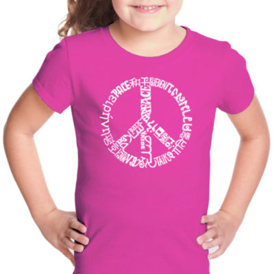 Los Angeles Pop Art The Word Peace In 20 LanguagesShort Sleeve Girls Graphic T-Shirt