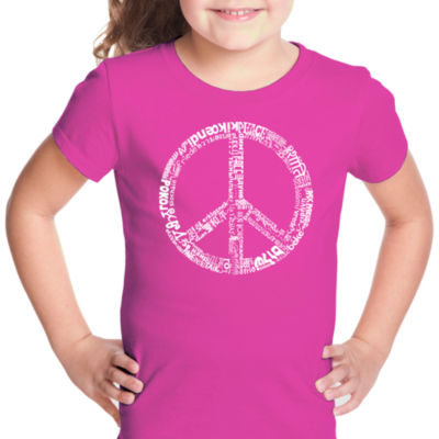 Los Angeles Pop Art The Word Peace In 77 Languages Short Sleeve Graphic T-Shirt Girls