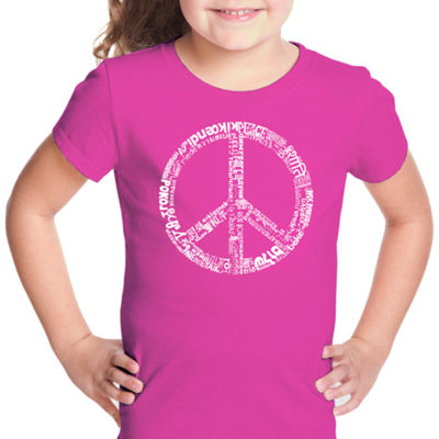 Los Angeles Pop Art The Word Peace In 77 LanguagesShort Sleeve Girls Graphic T-Shirt