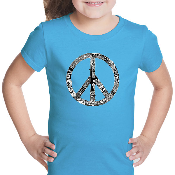 Los Angeles Pop Art Peace; Love; & Music Short Sleeve Girls Graphic T-Shirt