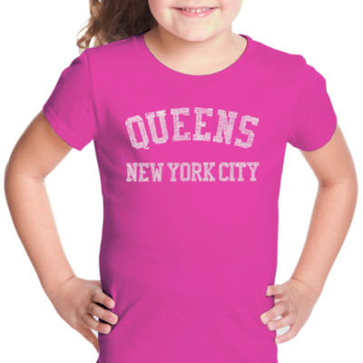 Los Angeles Pop Art Popular Neighborhoods In Queens; Ny Short Sleeve Girls Graphic T-Shirt