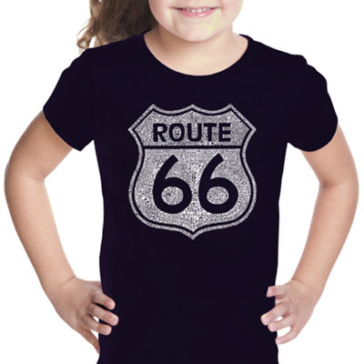 Los Angeles Pop Art Cities Along The Legendary Route 66 Short Sleeve Graphic T-Shirt Girls