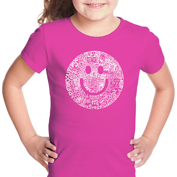 Los Angeles Pop Art Smile In Different Languages Short Sleeve Girls Graphic T-Shirt