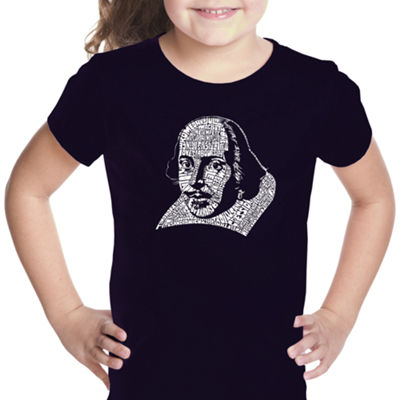 Los Angeles Pop Art The Titles Of All Of William Shakespeare'S Comedies & Tragedies Short Sleeve Graphic T-Shirt Girls