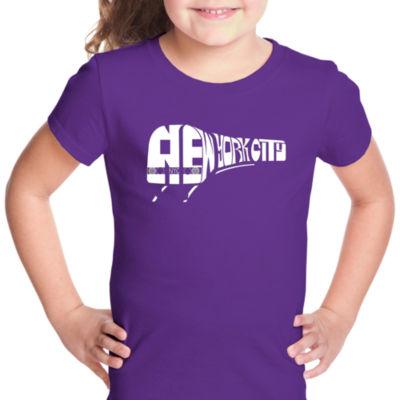 Los Angeles Pop Art Ny Subway Short Sleeve Girls Graphic T-Shirt