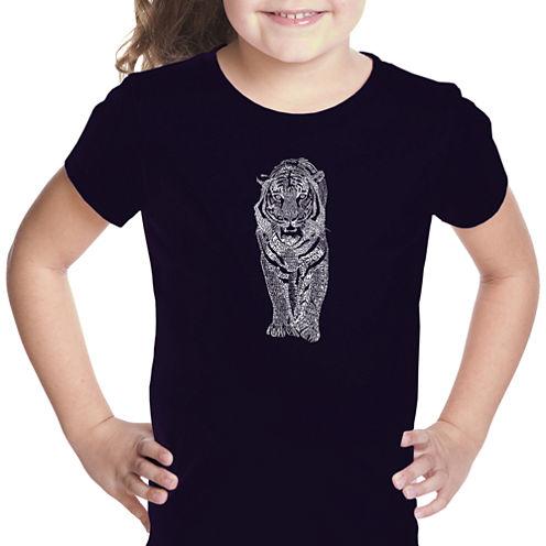 Los Angeles Pop Art Tiger Short Sleeve Graphic T-Shirt Girls