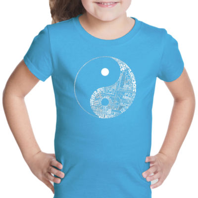 Los Angeles Pop Art Yin Yang Short Sleeve Graphic T-Shirt Girls