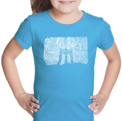 Los Angeles Pop Art Brooklyn Bridge Short Sleeve Girls Graphic T-Shirt
