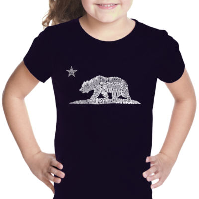 Los Angeles Pop Art California Bear Short Sleeve Graphic T-Shirt Girls