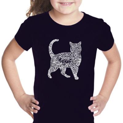 Los Angeles Pop Art Cat Short Sleeve Girls GraphicT-Shirt
