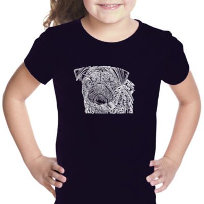 Los Angeles Pop Art Pug Face Short Sleeve Graphic T-Shirt Girls