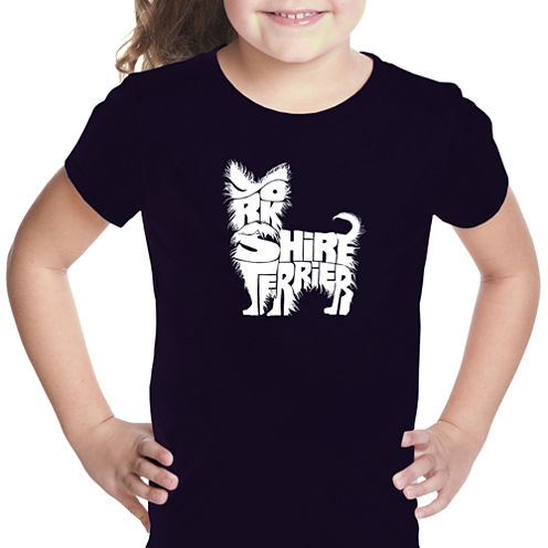 Los Angeles Pop Art Yorkie Short Sleeve Graphic T-Shirt Girls