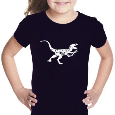 Los Angeles Pop Art Velociraptor Short Sleeve Graphic T-Shirt Girls