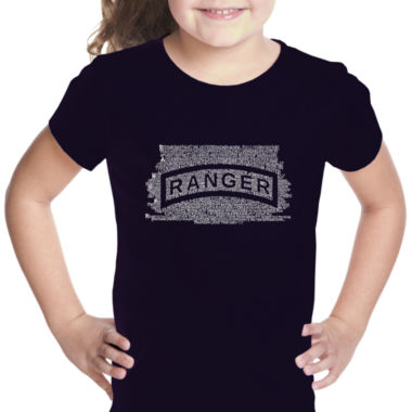 Los Angeles Pop Art The Us Ranger Creed Short Sleeve Girls Graphic T-Shirt