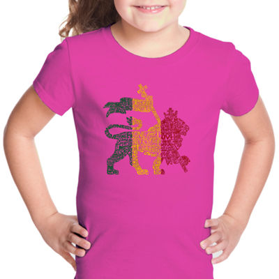 Los Angeles Pop Art Rasta Lion - One Love Short Sleeve Graphic T-Shirt Girls