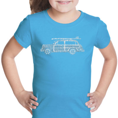 Los Angeles Pop Art Woody - Classic Surf Songs Short Sleeve Girls Graphic T-Shirt