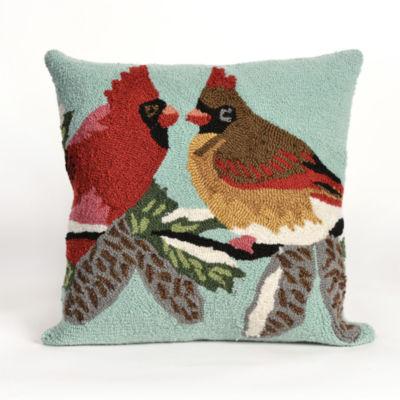 Liora Manne Frontporch Cardinals Square Outdoor Pillow