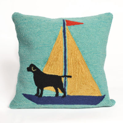 Liora Manne Frontporch Sailing Dog Square Outdoor Pillow