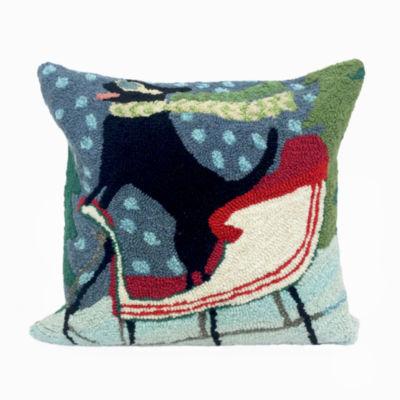 Liora Manne Frontporch Sledding Dog Square Outdoor Pillow