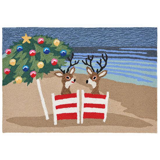 Liora Manne Frontporch Coastal Christmas Hand Tufted Rectangular Indoor/Outdoor Rugs