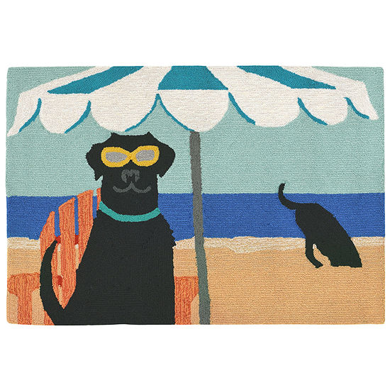 Liora Manne Frontporch Dig In The Beach Hand Tufted Rectangular Indoor/Outdoor Rugs