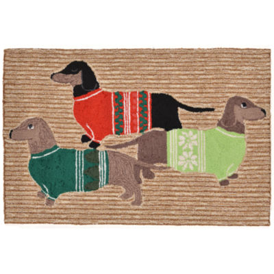 Liora Manne Frontporch Holiday Hounds Hand Tufted Rectangular Rugs