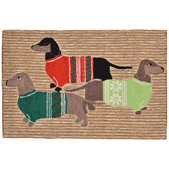 Liora Manne Frontporch Holiday Hounds Hand Tufted Rectangular Indoor/Outdoor Rugs