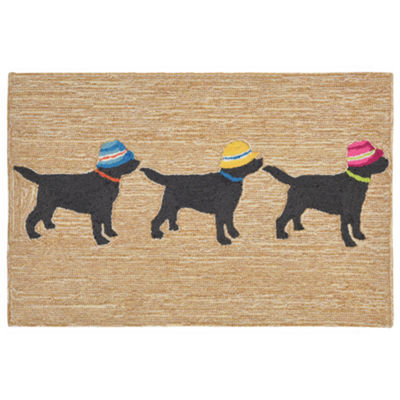 Liora Manne Frontporch 3 Dogs Christmas Hand Tufted Rectangular Rugs
