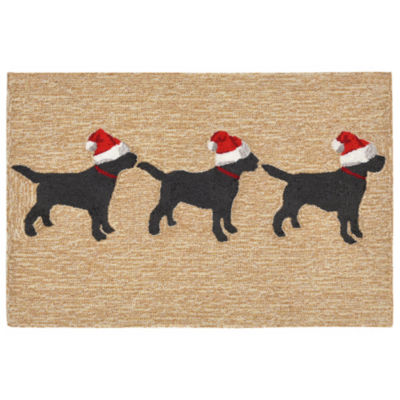 Liora Manne Frontporch 3 Dogs Christmas Hand Tufted Rectangular Indoor/Outdoor Rugs