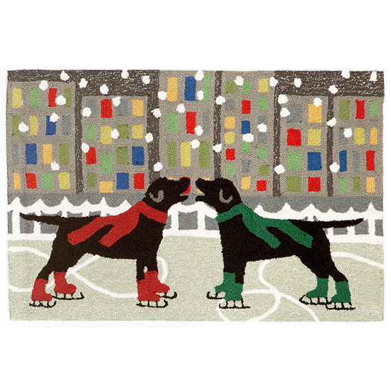 Liora Manne Frontporch Holiday Ice Dogs Hand Tufted Rectangular Indoor/Outdoor Rugs