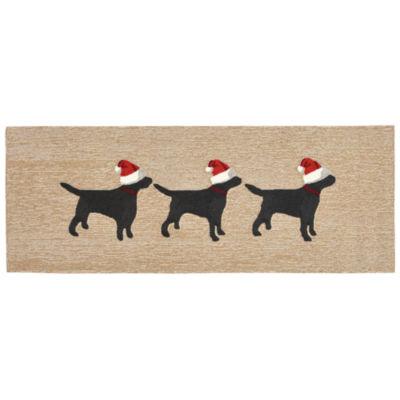 Liora Manne Frontporch 3 Dogs Christmas Hand Tufted Rectangular Runner
