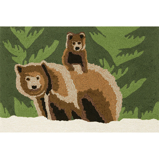 Liora Manne Frontporch Bear Family Hand Tufted Rectangular Indoor/Outdoor Rugs