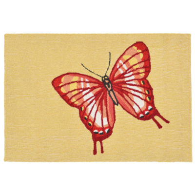 Liora Manne Frontporch Butterfly Hand Tufted Rectangular Rugs