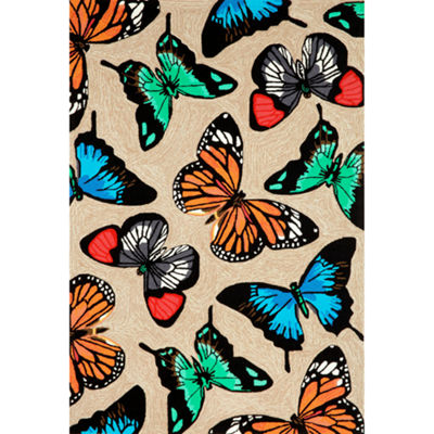 Liora Manne Frontporch Butterfly Dance Hand Tufted Rectangular Indoor/Outdoor Area Rug