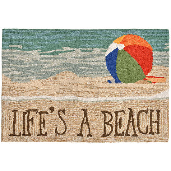 Liora Manne Frontporch Life'S A Beach Hand Tufted Rectangular Indoor/Outdoor Rugs