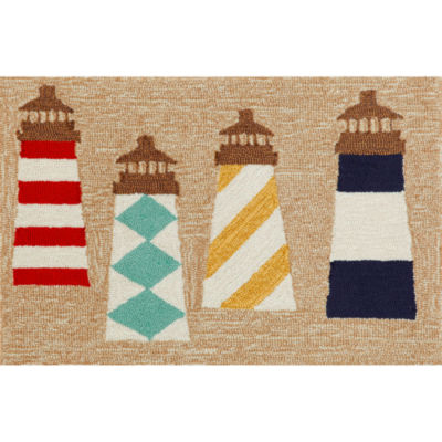Liora Manne Frontporch Lighthouses Hand Tufted Rectangular Indoor/Outdoor Accent Rug