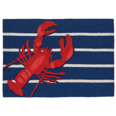 Liora Manne Frontporch Lobster On Stripes Hand Tufted Rectangular Rugs