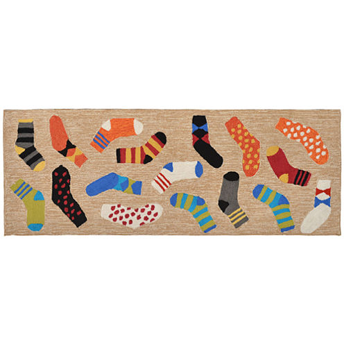 Liora Manne Frontporch Lost Socks Hand Tufted Rectangular Runner