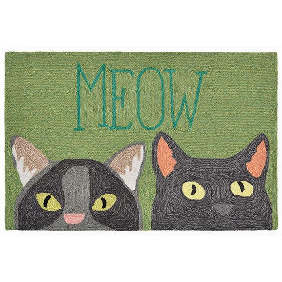 Liora Manne Frontporch Meow Hand Tufted Rectangular Indoor/Outdoor Rugs