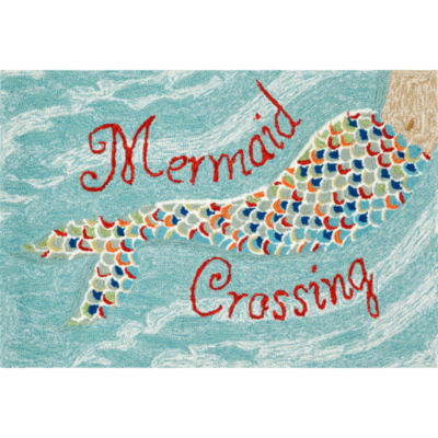 Liora Manne Frontporch Mermaid Crossing Hand Tufted Rectangular Indoor/Outdoor Rugs