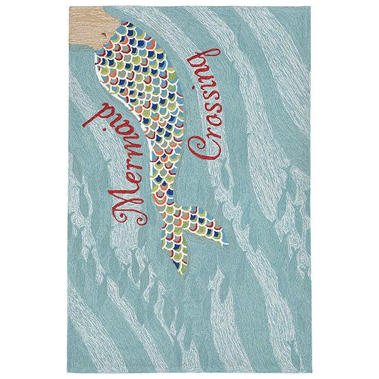 Liora Manne Frontporch Mermaid Crossing Hand Tufted Rectangular Indoor/Outdoor Rugs