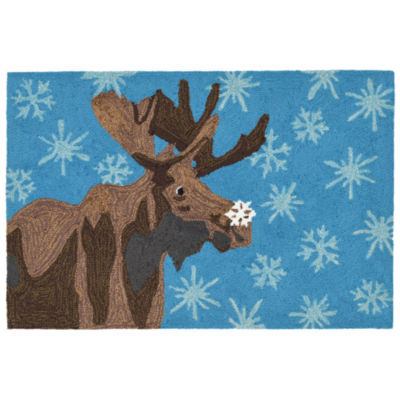 Liora Manne Frontporch Moose And Snowflake Hand Tufted Rectangular Rugs